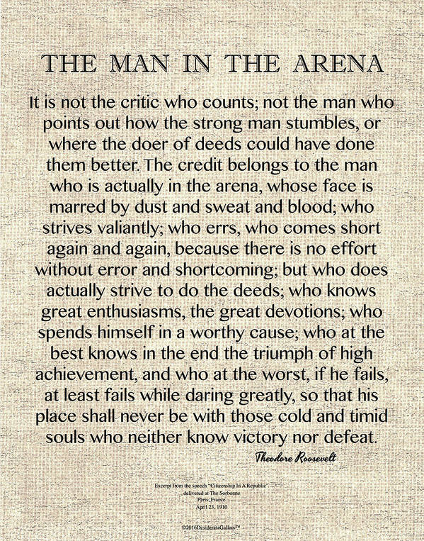 Theodore Roosevelt The Man In The Arena Motivational Wall Poster