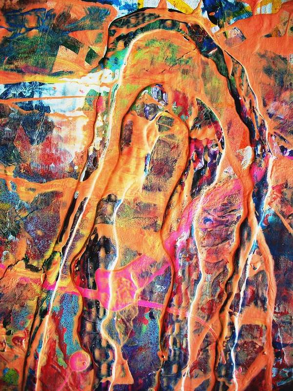 Abstract Poster featuring the painting The Many Facets Of Fear by Bruce Combs - REACH BEYOND