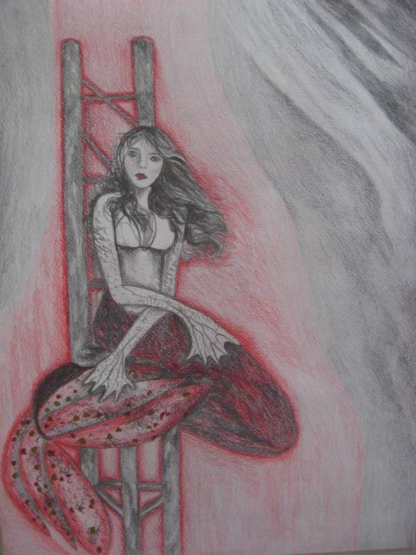 Mermaid Poster featuring the drawing The Mermaid by Theodora Dimitrijevic