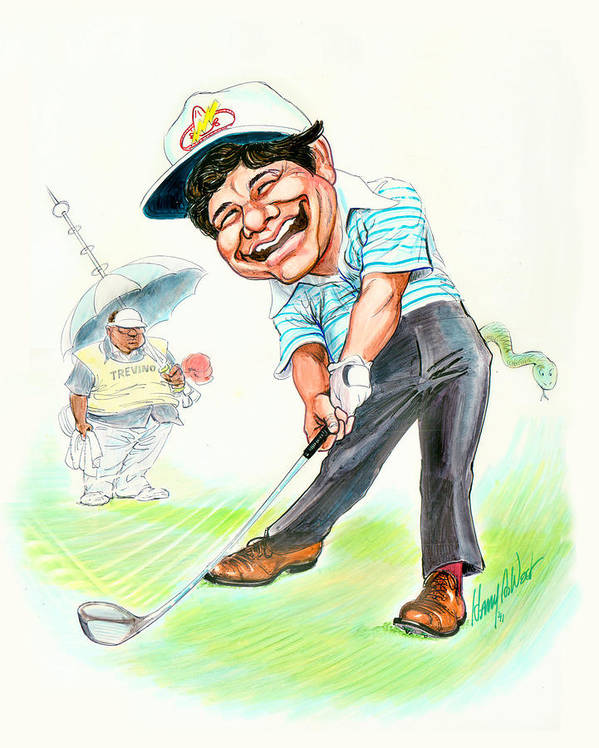 Lee Trevino Poster featuring the drawing The Merry Mex by Harry West