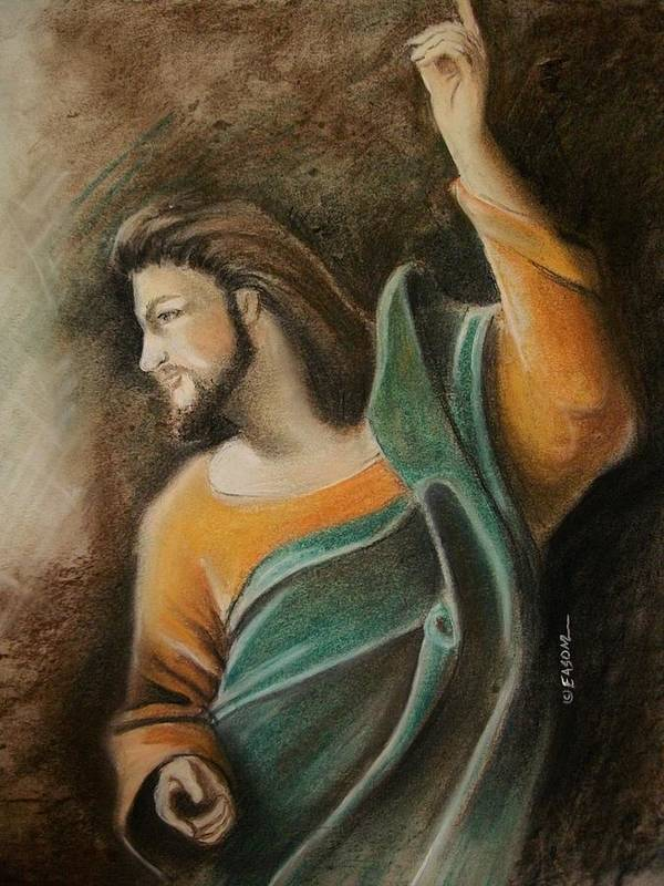 Jesus Poster featuring the pastel The Messiah by Scott Easom