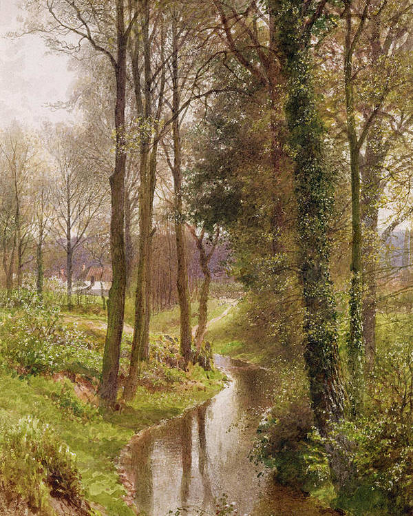 Round Poster featuring the painting The Mill Stream by Henry Sutton Palmer
