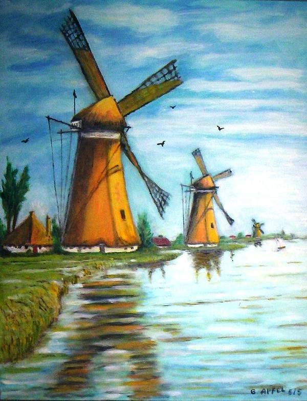 Windmills Poster featuring the painting The Mills Of Holland by Gloria M Apfel