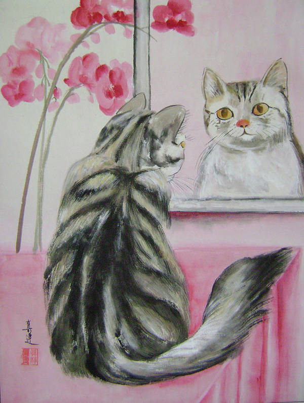 Cats Poster featuring the painting The mirror by Lian Zhen