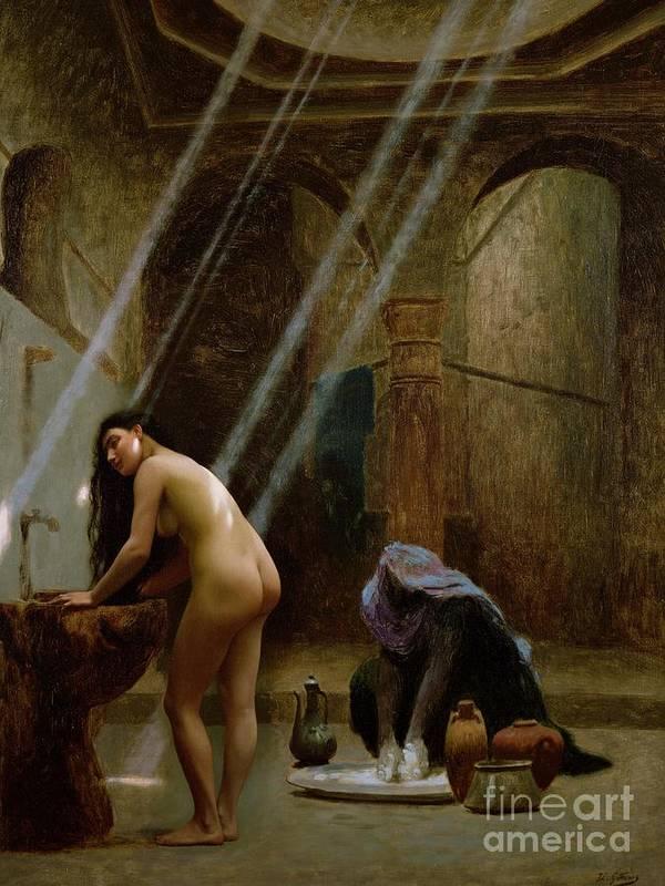 The Moorish Bath By Jean Leon Gerome (1824-1904) Poster featuring the painting The Moorish Bath by Jean Leon Gerome