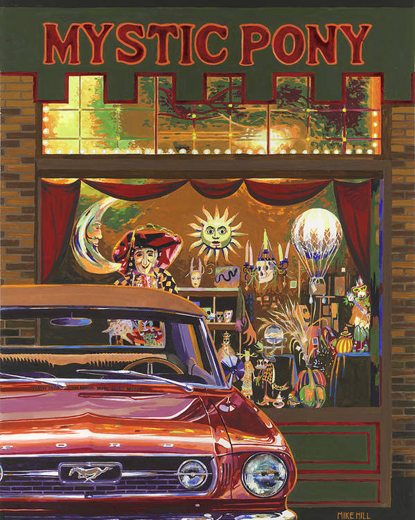 Mustang Mystic Pony Halloween Pumpkin Astrology Sun Moon Witch Skull Occult Classic Car Collector Poster featuring the painting The Mystic Pony by Mike Hill