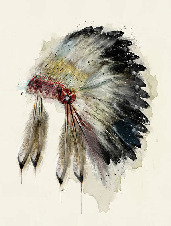 Native Headdress Poster featuring the painting The Native Headdress by Bri Buckley