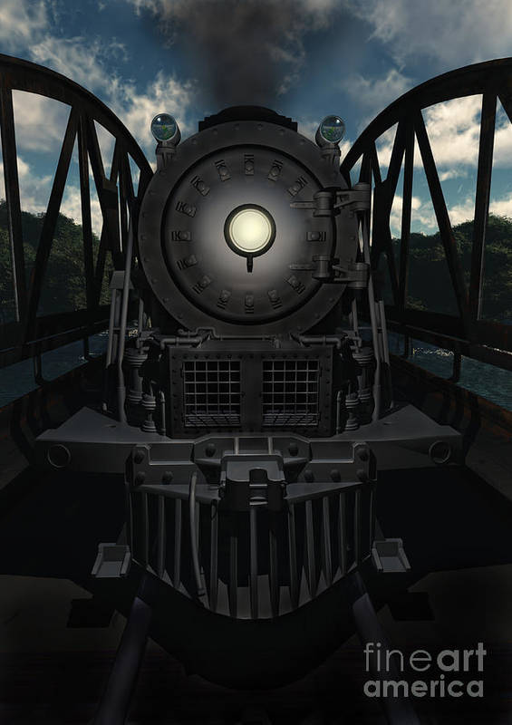 Trains Poster featuring the digital art The Old Iron Bridge by Richard Rizzo