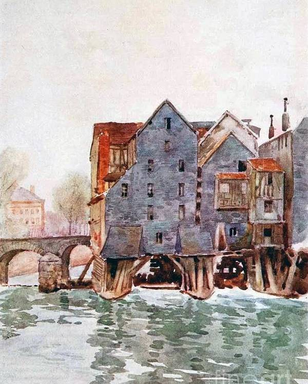 Herbert Menzies Marshall - The Old Mills At Meaux Poster featuring the painting The Old Mills At Meaux by MotionAge Designs