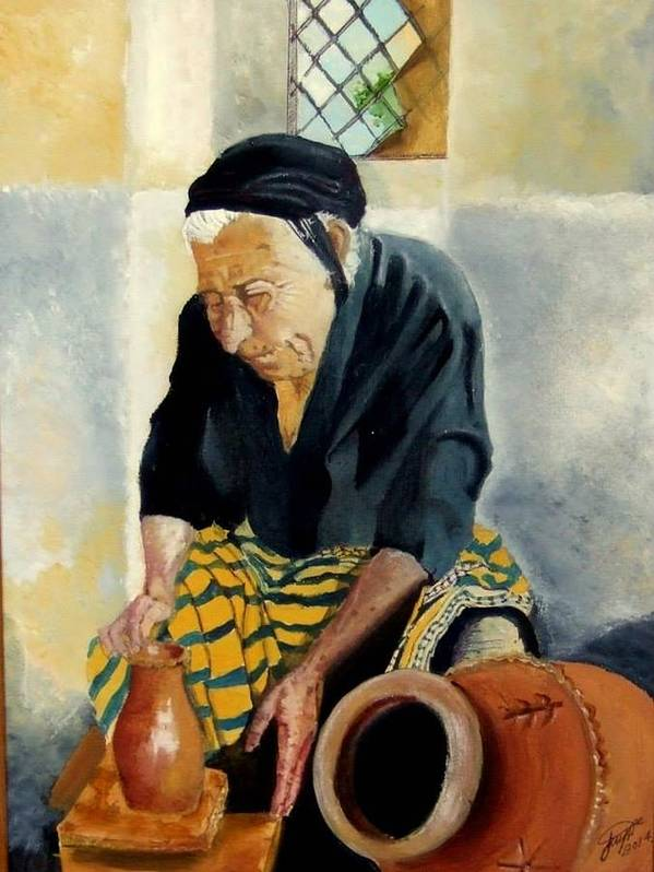 Old People Poster featuring the painting The Old Potter by Jane Simpson