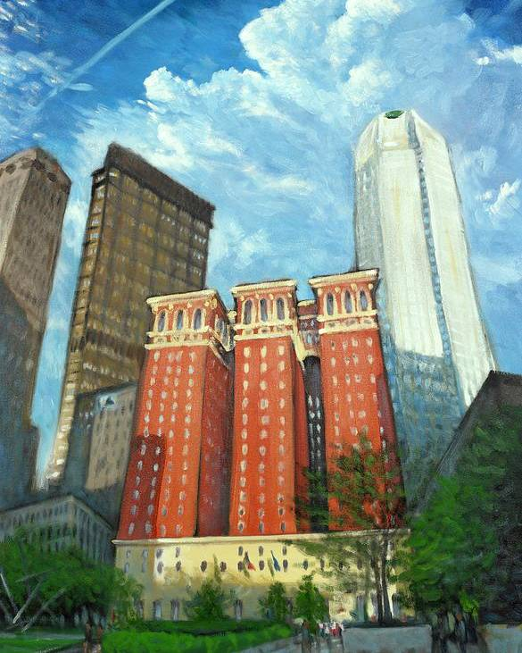 Cityscape Poster featuring the painting The Omni William Penn Hotel by Erik Schutzman