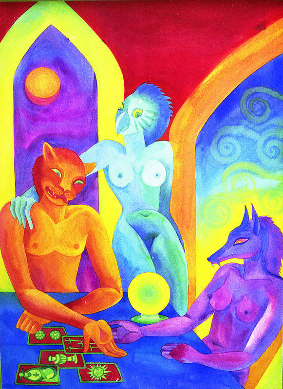 Oracle Spiritual Tarot Mystical Bright Colours Divination Other Dimensions Poster featuring the painting The Oracle by Jennifer Baird