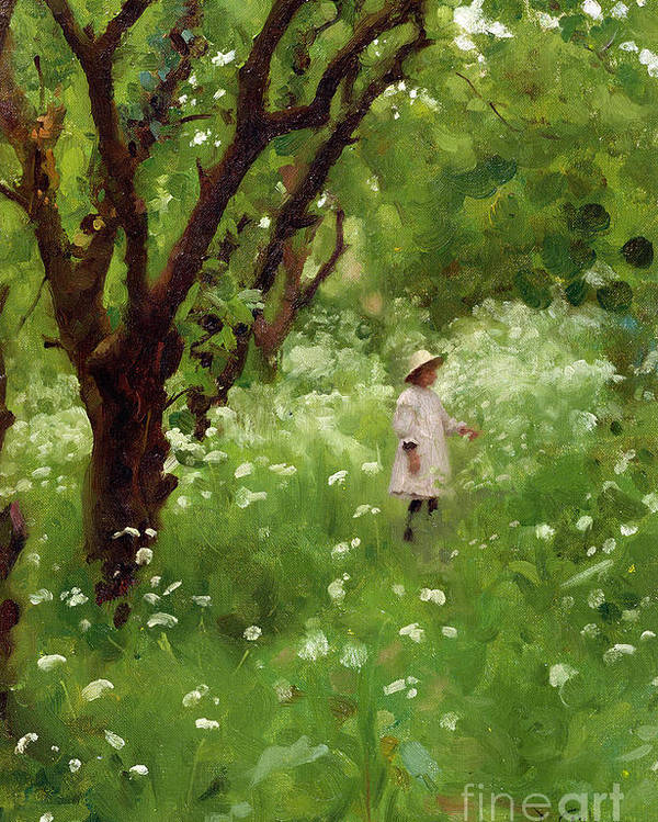 The Poster featuring the painting The Orchard by Thomas Cooper Gotch