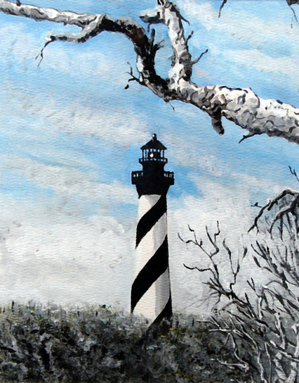 Lighthouse Poster featuring the painting The Other View Of Hatteras by Jim Phillips