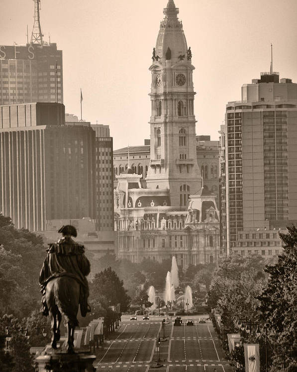 Benjamin Franklin Parkway Poster featuring the photograph The Parkway In Sepia by Bill Cannon