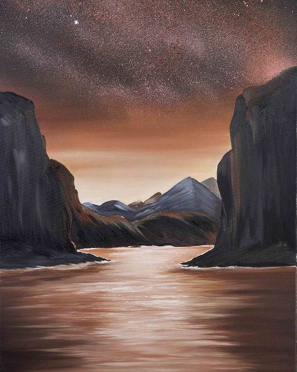Landscape Poster featuring the painting The Passage beyond the boundaries by Ara Elena