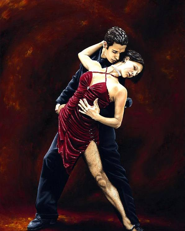 Tango Poster featuring the painting The Passion of Tango by Richard Young