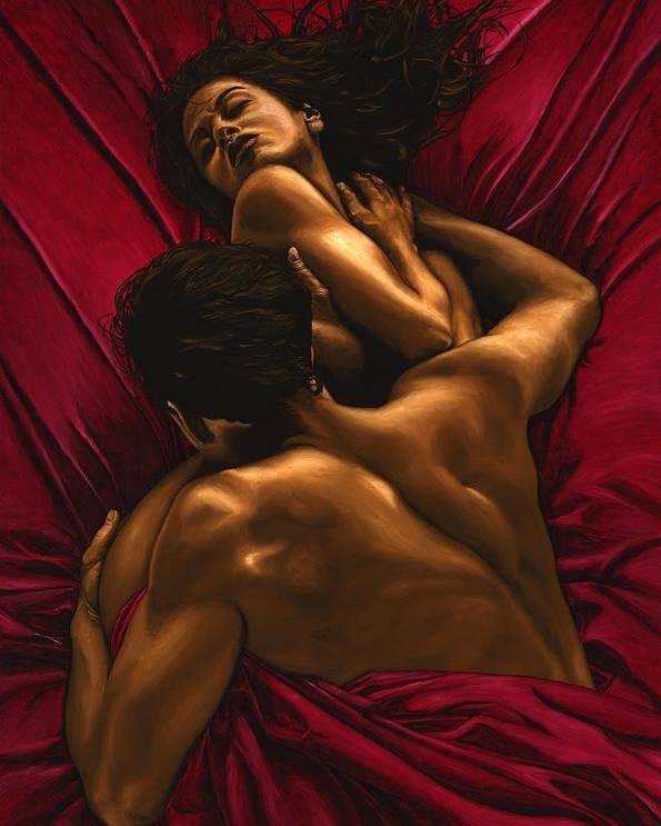Nude Poster featuring the painting The Passion by Richard Young