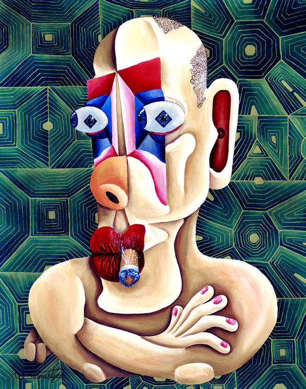 Pop Art Poster featuring the painting The Philosopher by Tak Salmastyan