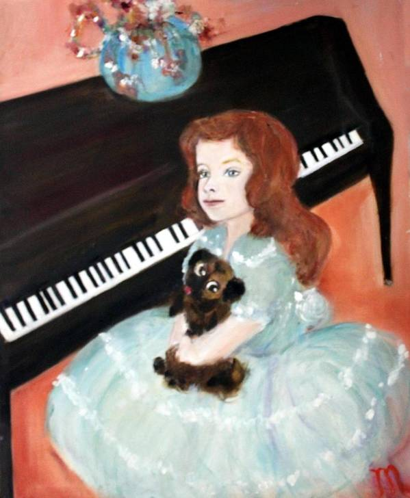 Piano Poster featuring the painting The Pianist And Her Pekinese by Michela Akers