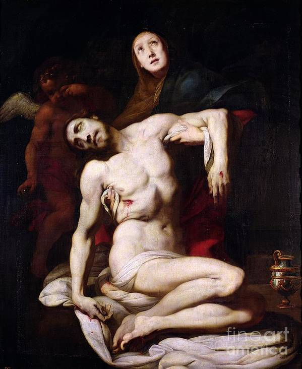 The Pieta Poster featuring the painting The Pieta by Daniele Crespi
