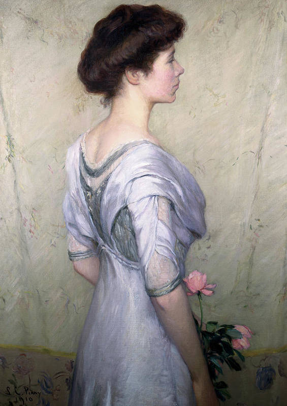 The Pink Rose Poster featuring the painting The Pink Rose by Lilla Cabot Perry