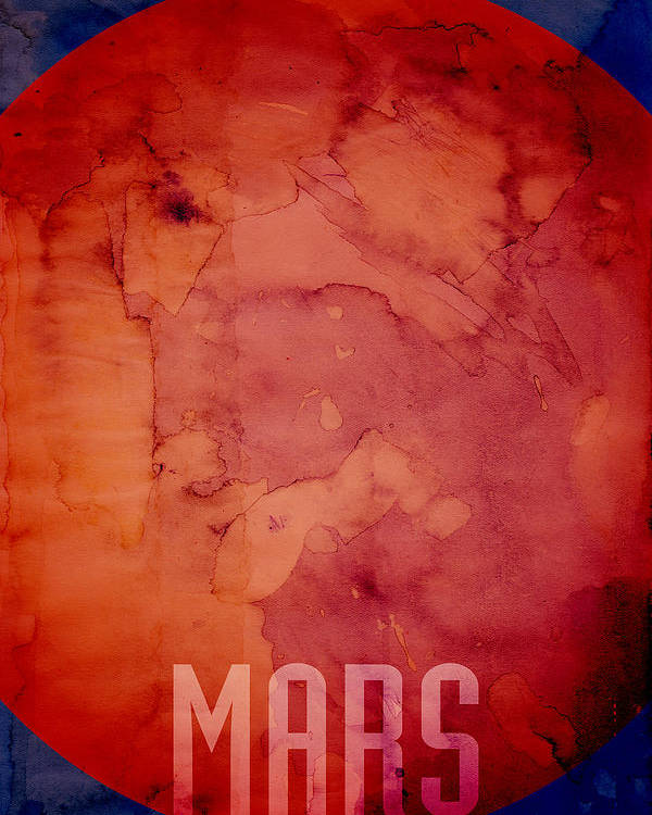 Mars Poster featuring the digital art The Planet Mars by Michael Tompsett