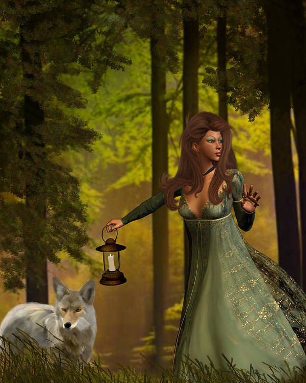 Princess Poster featuring the painting The Princess And The Wolf by Emma Alvarez