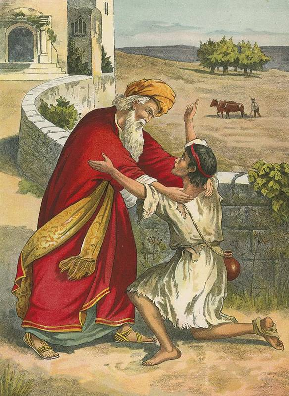 Bible; Children's; Jesus Christ; The Prodigal's Return; The Prodigal Son; Father; Return Poster featuring the painting The Prodigal's Return by English School