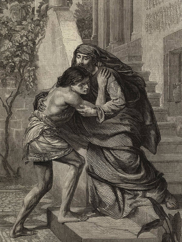 Prodigal Poster featuring the drawing The Prodigal's Return by Sir Edward John Poynter
