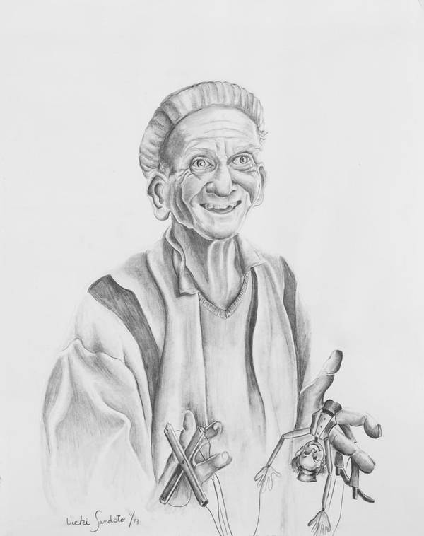 Portrait Poster featuring the drawing The Puppeteer by Victoria Shea