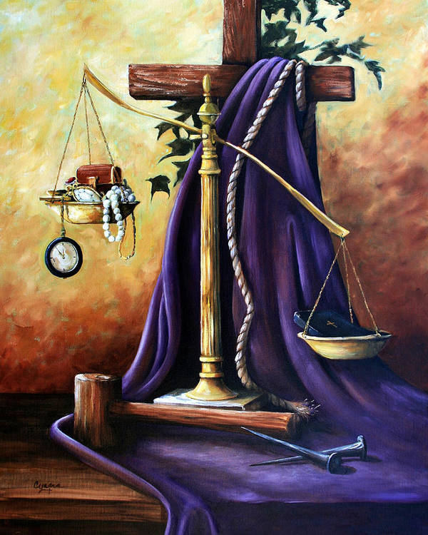 Oil Painting Poster featuring the painting The Purple Robe by Cynara Shelton