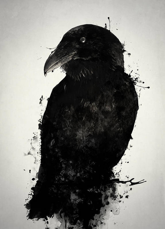 Raven Poster featuring the mixed media The Raven by Nicklas Gustafsson