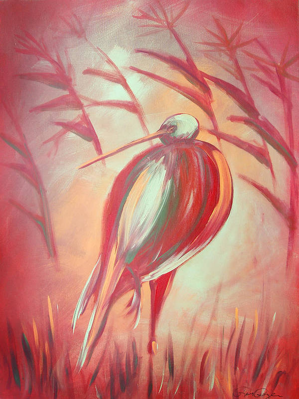 Bird Poster featuring the painting The Red Bird by Gina De Gorna
