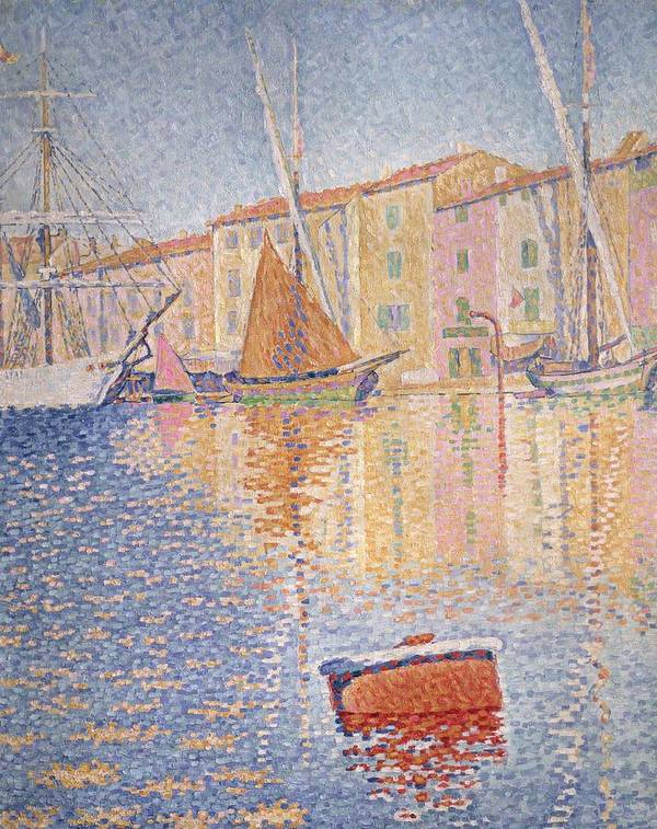 The Red Buoy Poster featuring the painting The Red Buoy by Paul Signac