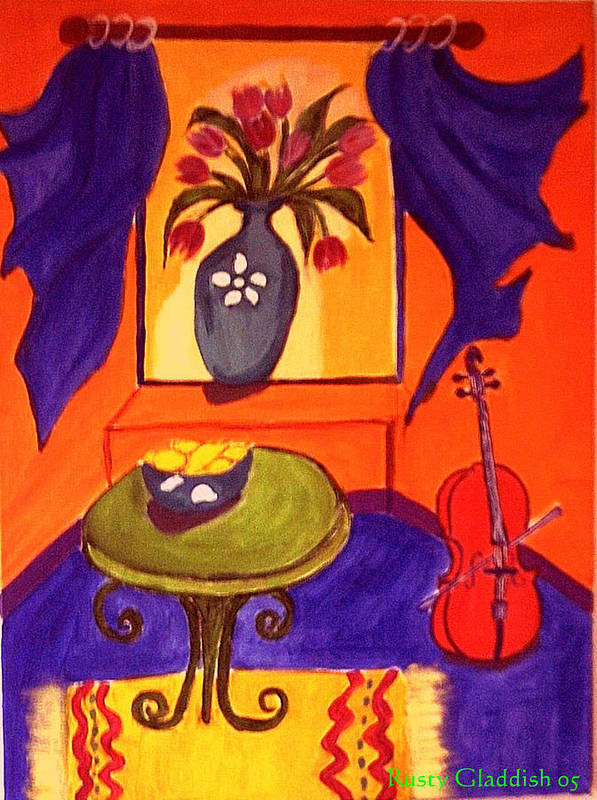 Cello Poster featuring the painting The Red Cello by Rusty Gladdish