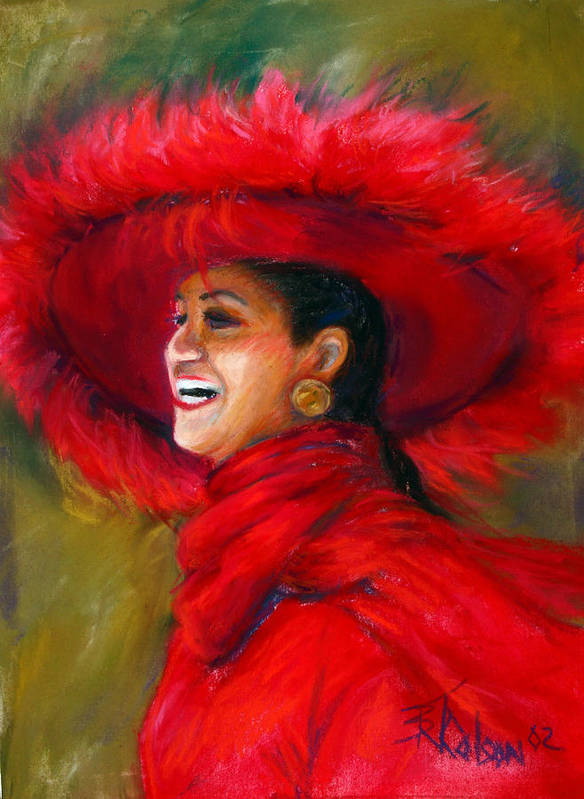 Red Poster featuring the painting The Red Hat by Billie Colson