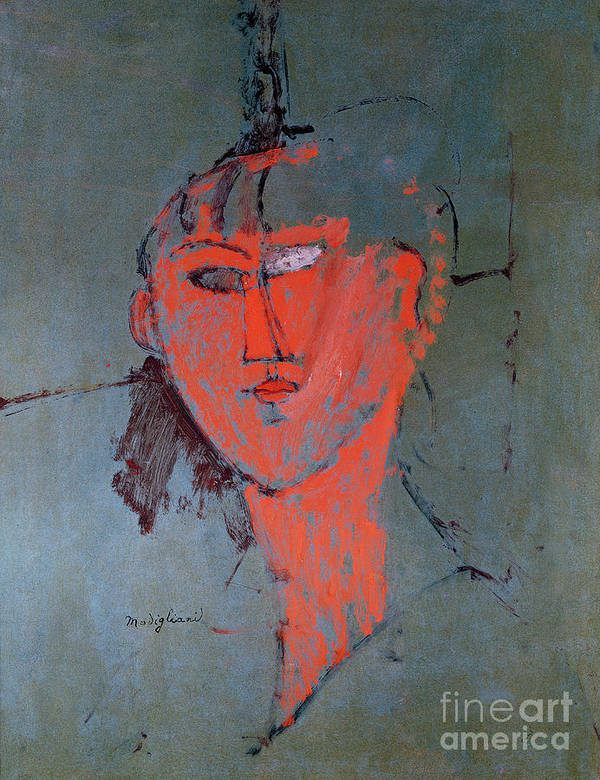 The Poster featuring the painting The Red Head by Amedeo Modigliani