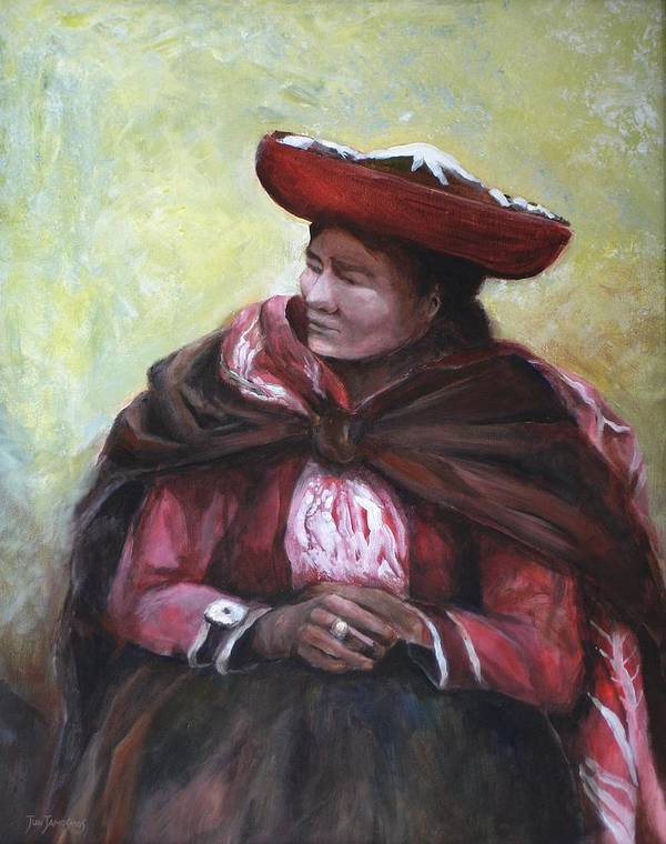 Peru Poster featuring the painting The Red Shawl by Jun Jamosmos