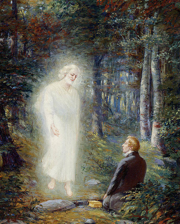 Angel Moroni Poster featuring the painting The Restoration by Lewis A Ramsey