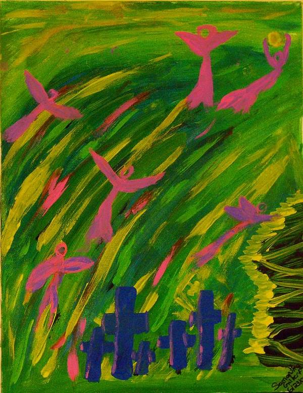 Angel Poster featuring the painting The Risen by Samantha Gilbert