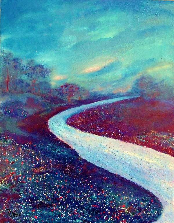 Landscape Poster featuring the painting The Road - New Beginnings by Robin Monroe