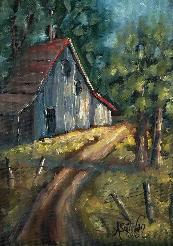 Barn Poster featuring the painting The Road Leads Home by Angela Sullivan