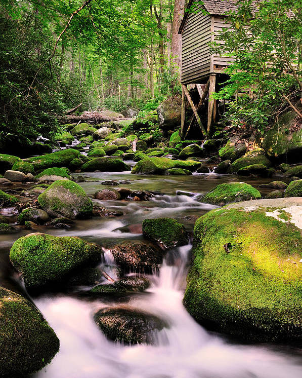 Roaring Fork Poster featuring the photograph The Roaring Fork And Reagan's Mill by Expressive Landscapes Fine Art Photography by Thom