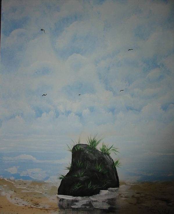 Acrylics Poster featuring the painting The Rock by Laurie Kidd
