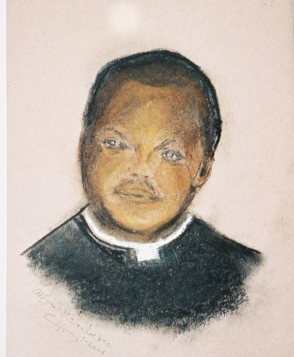 Portrait Of Roman Catholic Father Mushi Zanzabar Africa Poster featuring the painting The Roman Catholic Priest From Zanzibar by Alfred P Verhoeven