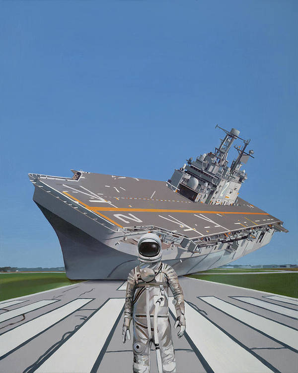 Astronaut Poster featuring the painting The Runway by Scott Listfield