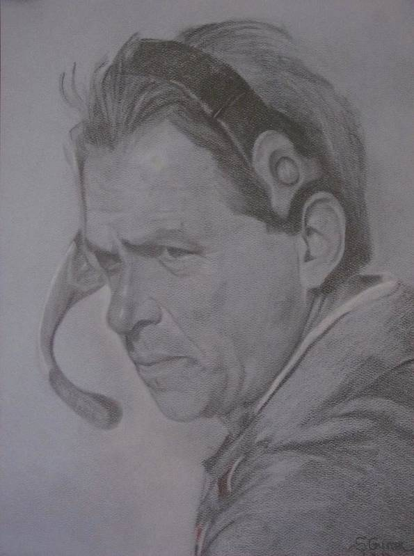 Coach Saban Poster featuring the drawing The Saban Look by Sheila Gunter