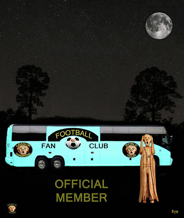Scream World Tour Poster featuring the mixed media The Scream World Tour Football Tour Bus by Eric Kempson