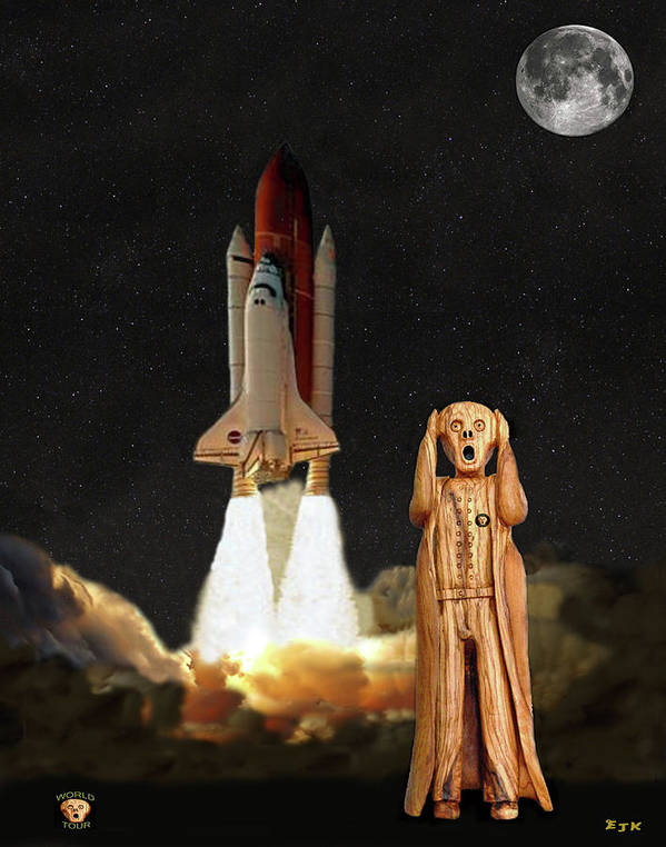 The Scream World Tour Space Shuttle Poster featuring the mixed media The Scream World Tour Space Shuttle by Eric Kempson